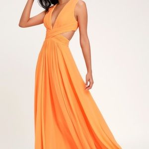 Lulus Vivid Imagination Orange Cutout Maxi Dress